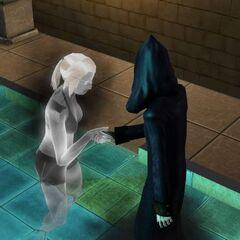 Un Sim que murió de la maldición de la momia da la mano a La Parca.
