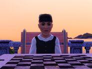 Katrine som spiller sjakk