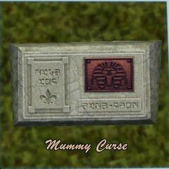 La lápida de un Sim que murió por la maldición de la momia.