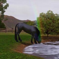 Un unicornio de color negro con un arco iris disparando desde su cuerno.