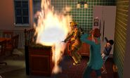 Firefighter in TS3 fighting a fire