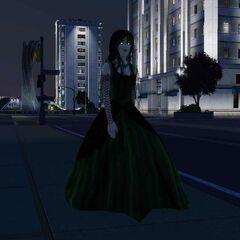 Una Sim vampira gótica en Bridgeport.