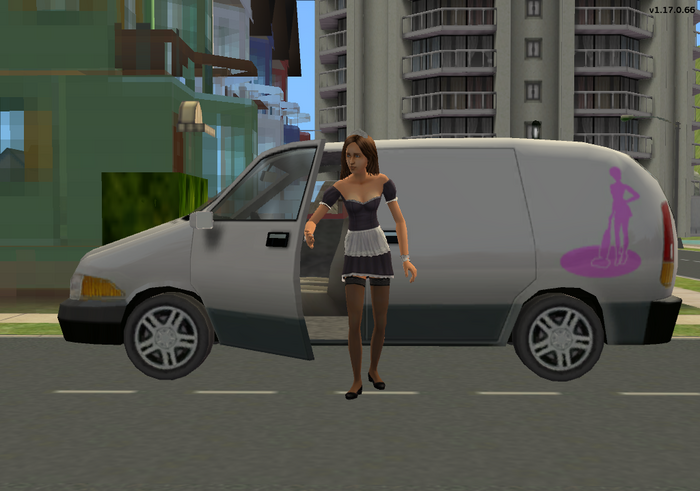 Maid getting out of her van