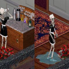 Bonehilda bebiendo y dejando un charco después de beber