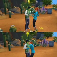 Dos sims adolescentes intercambiando anillos de promesa.
