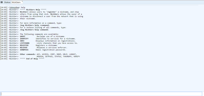 Freenode IRC webchat query nickserv help