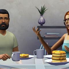 Sims beim Frühstück