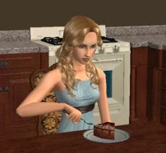 Woman eating cheese cake