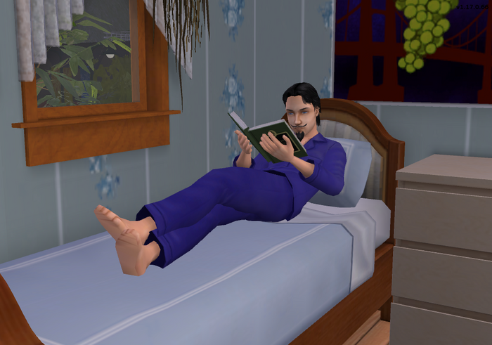 Julien Cooke SimVille reading in bed