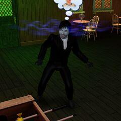 Un vampiro leyendo la mente de un Sim.