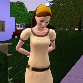Twyla en ropa casual, siendo arrestada.