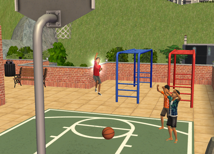 Mike Joey and Tim shooting hoops 3