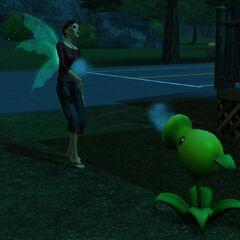Un lanzaguisantes atacando a un Sim zombie.