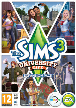 The sims 3 university life box art
