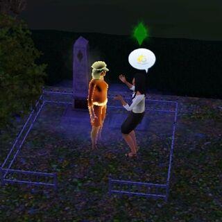 Elvira Lápida hablando con el fantasma de su abuela <a href=