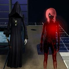 Un fantasma vampiro que murió de sed. La luz roja brillante se asemeja a un corazón, la luz pulsa similar a un latido del corazón.