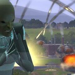 Alienígena convocando meteoritos