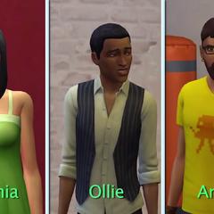 Sophia, Ollie y Andre, tres jóvenes adultos en <i>Los Sims 4</i>.