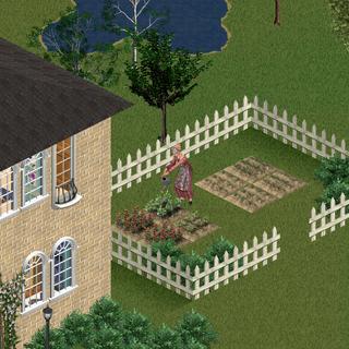Ginia regando su jardín.