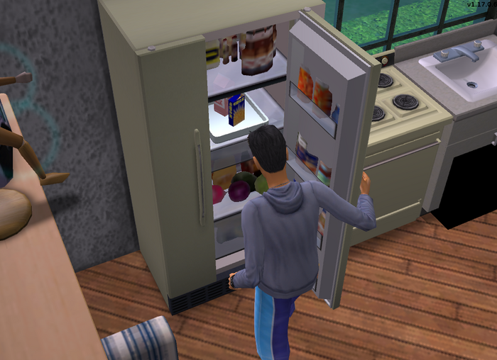 Simon getting mac and cheese from the fridge