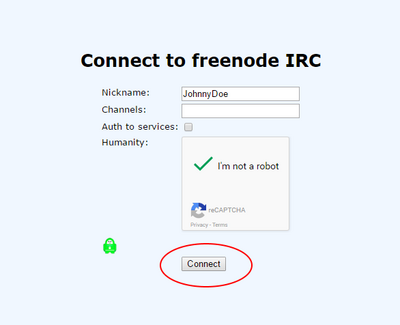 Freenode IRC webchat connect