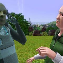 Alienígena usando sus poderes telepáticos para un Sim.