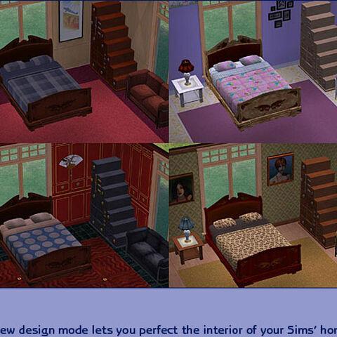 La segunda foto (de izquierda a derecha) tiene un patrón de muebles sin usar.