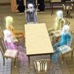 Una variedad de fantasmas disfrutando de una conversación alrededor de una mesa.