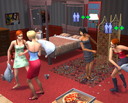 Young adults having a pillow fight