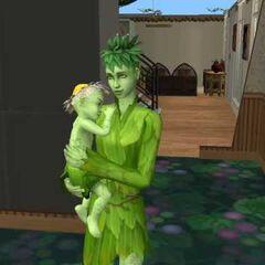 Sim 2: sim planta mujer cargando a su hijo Simplanta