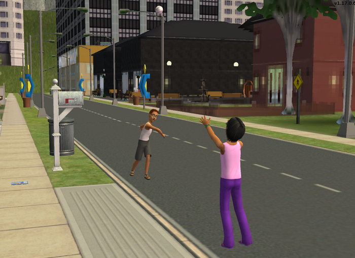 Garrett and Cheryl playing catch on the road