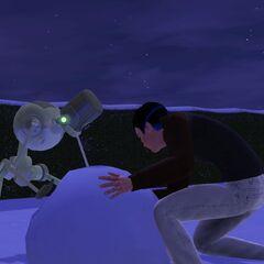 Un Plumbot construyendo un muñeco de nieve con su creador.