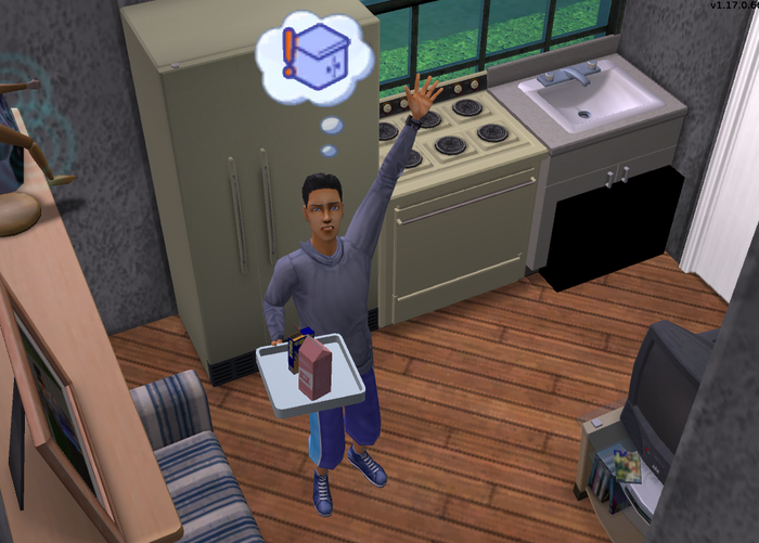 Simon complaining about the lack of countertops