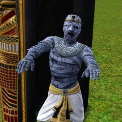 Momia saliendo de su sarcófago.