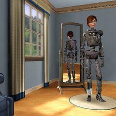 Un Sim común puede obtener un atuendo de SimBot, que se puede reutilizar, usando el truco