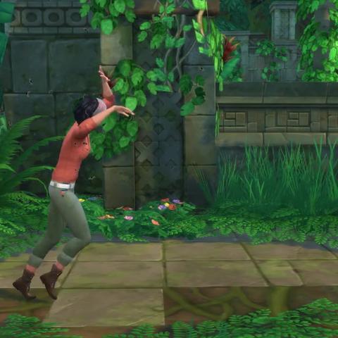 Un Sim siendo perseguido por abejas en las ruinas de Selvadorada.