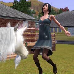 Un Sim siendo bendecido por un unicornio.
