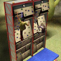 Dos Sims que tienen una carrera por la pared de escalada.