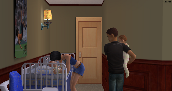 Gavin and Ginger putting the twins back into their cribs