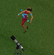 Laura Caixão sendo abduzida em The Sims