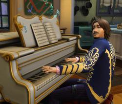 Sim tocando piano
