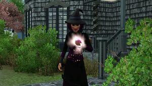 Bruxa conjurando maçã envenenada