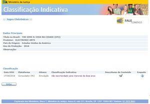 Classificação indicativa EP3 TS4