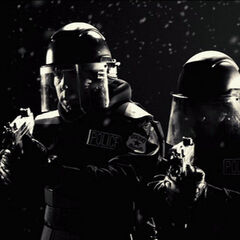 Two officers approach Hartigan with Micro Uzis before being killed.