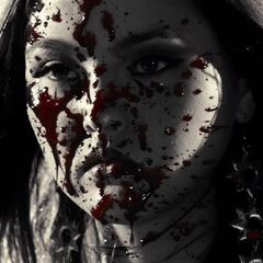 Blood-covered face.