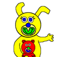 Yellow with Red Teddy Bear