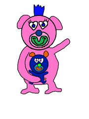 Pink with dark blue puppy sing a ma jig duet