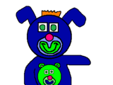 Electric Blue with Green Teddy Bear