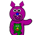 Lilac with Green Teddy Bear