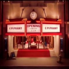 The entrance to the theater.